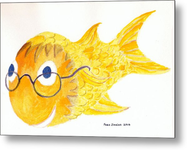 Happy Golden Fish Metal Print