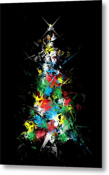 Happy Holidays - Abstract Tree - Vertical Metal Print