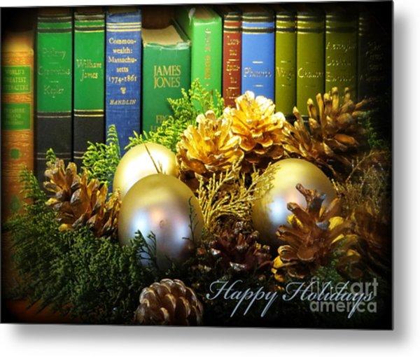 Happy Holidays Books Metal Print