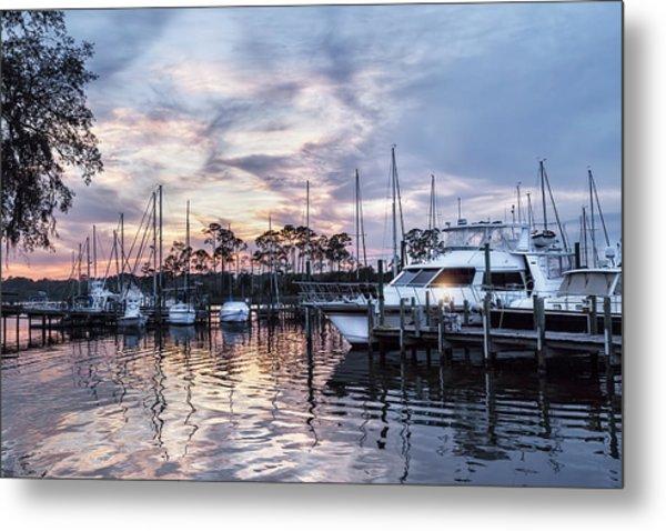 Happy Hour Sunset At Bluewater Bay Marina, Florida Metal Print
