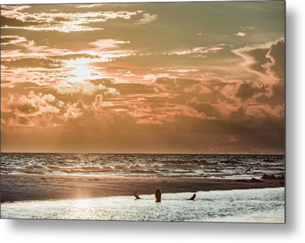 Happy Hour Sunset On The Beach Metal Print