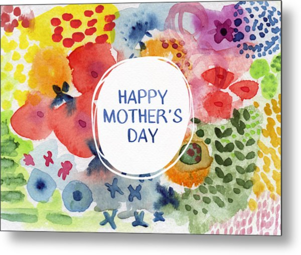 Happy Mothers Day Watercolor Garden- Art By Linda Woods Metal Print