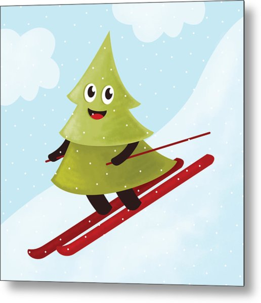 Happy Pine Tree On Ski Metal Print