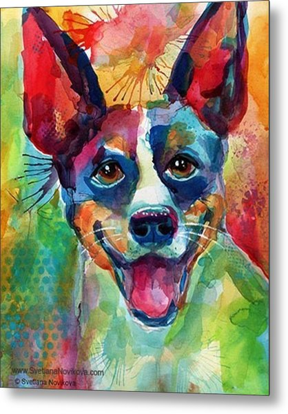 Happy Rat Terrier Watercolor Portrait Metal Print