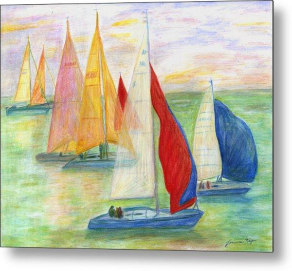 Happy Sailing Metal Print