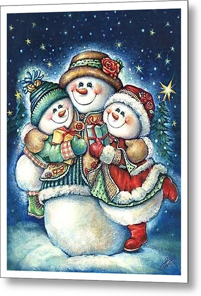 Happy Snowman Family With Gifts Metal Print