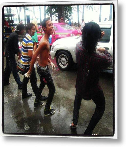 Metal Print featuring the photograph Happy Songkran. The Water Splashing by Mr Photojimsf