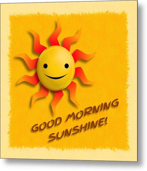 Happy Sun Face Metal Print
