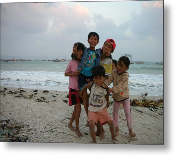 Happy Vietnamese Kids Metal Print