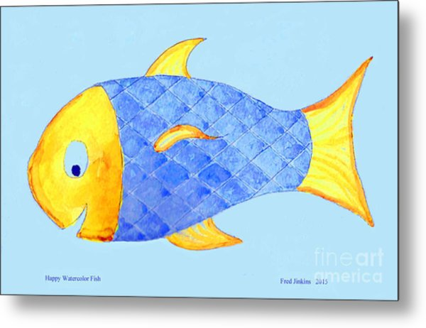 Happy Watercolor Fish Metal Print