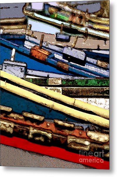 Harbor Boats In Abstract Metal Print by Linda  Parker
