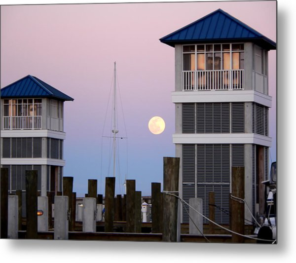 Harbor Moon Metal Print