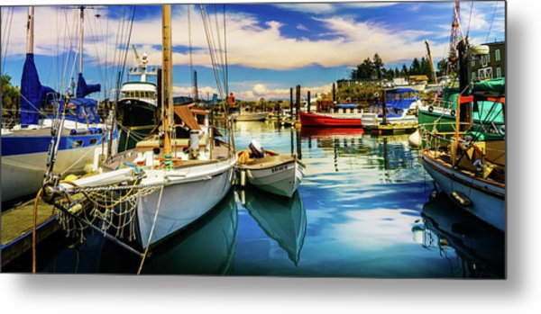 Metal Print featuring the photograph Harbor On Guemes Channel by TL  Mair
