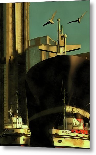 Harbor With Towboats Metal Print