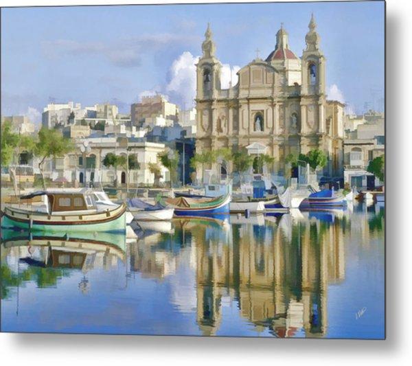 Harborside Msida Malta Metal Print