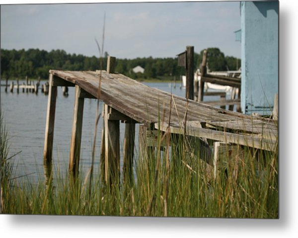 Harborton Dock Metal Print by Karen Fowler