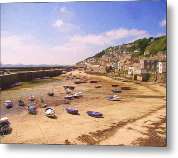 Harbour At Low Tide - Mousehole Metal Print