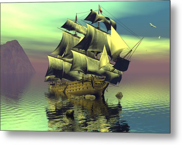 Hard Aground Taking On Water Metal Print by Claude McCoy