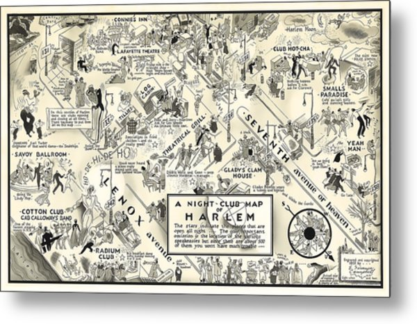 Harlem Prohibition Nightclub Map 1926 Metal Print