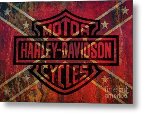 Harley Davidson Logo Confederate Flag Metal Print
