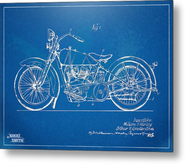Metal Print featuring the digital art Harley-davidson Motorcycle 1928 Patent Artwork by Nikki Marie Smith