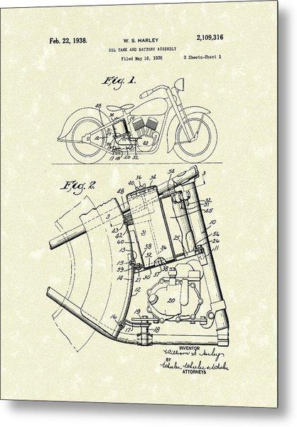 Harley Motorcycle 1938 Patent Art Metal Print