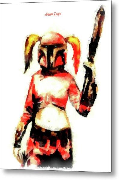 Harley Quinn Trooper - Aquarell Style Metal Print
