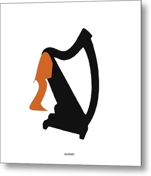 Harp In Orange Metal Print