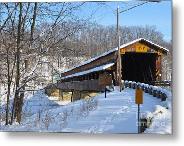Harpersfield Covered  Bridge Ohio Metal Print