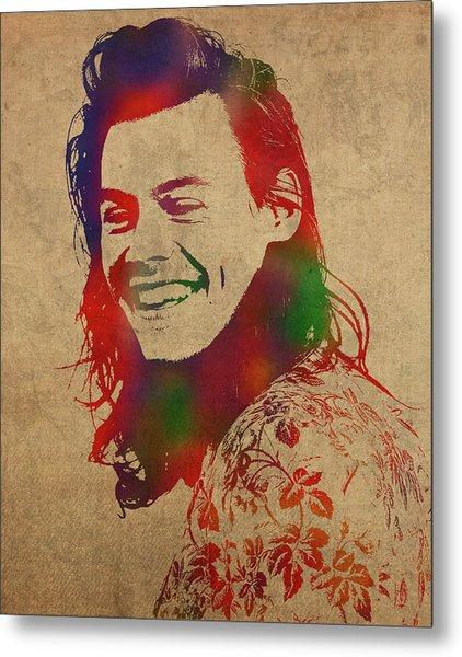Harry Styles Watercolor Portrait Metal Print