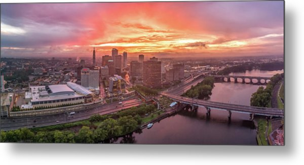 Hartford Ct Downtown Sunset Aerial Panorama Metal Print