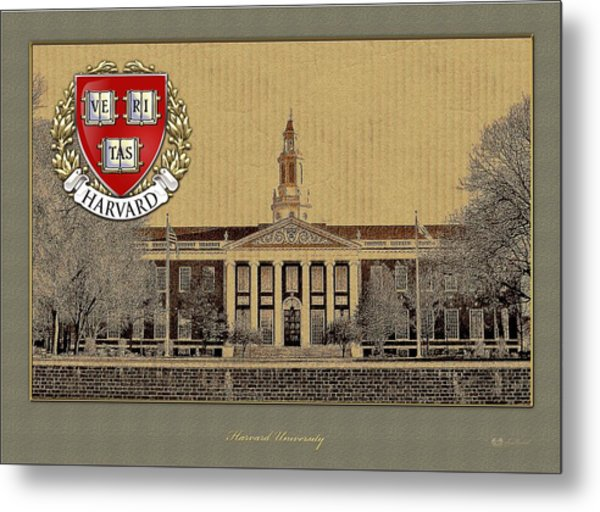 Harvard University Building With Seal Metal Print