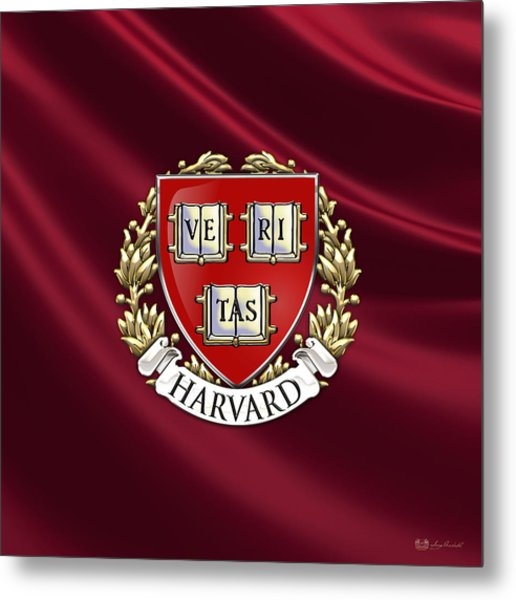 Harvard University Seal Over Colors Metal Print