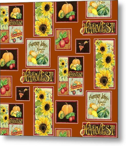 Harvest Market Pumpkins Sunflowers N Red Wagon Metal Print