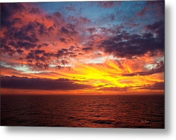 Harvest Sunrise In The Gulf  Metal Print by Bill Perry