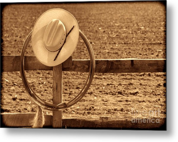Hat And Lasso On A Fence Metal Print
