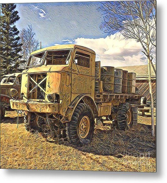 Hauling Oil Barrels On Old Canol Pipeline Project Metal Print
