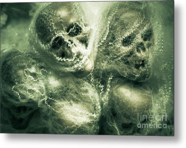 Haunted Undead Skeleton Heads Metal Print