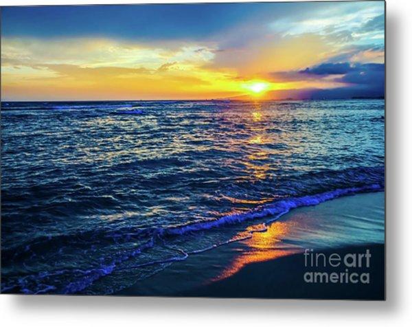Hawaiian Beach Sunset Metal Print