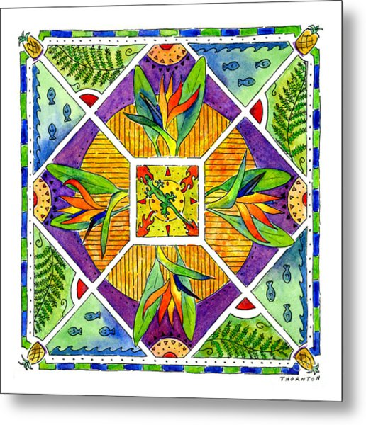 Hawaiian Mandala II - Bird Of Paradise Metal Print