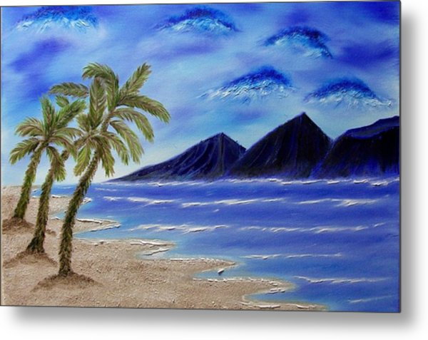Hawaiian Palms Metal Print by Marie Lamoureaux