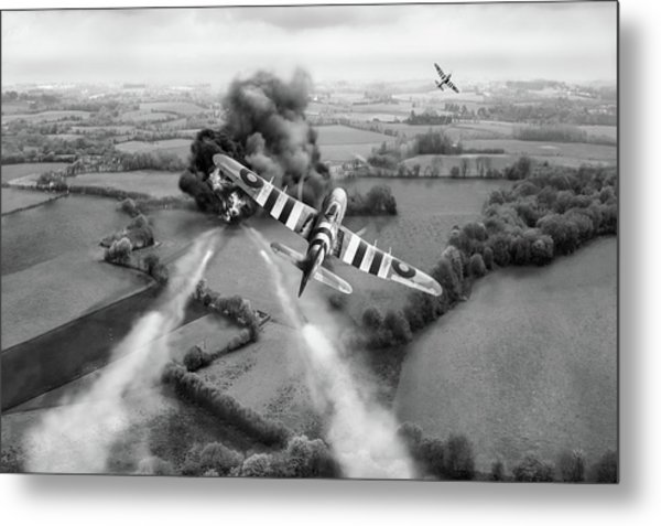 Metal Print featuring the photograph Hawker Typhoon Rocket Attack Bw Version by Gary Eason