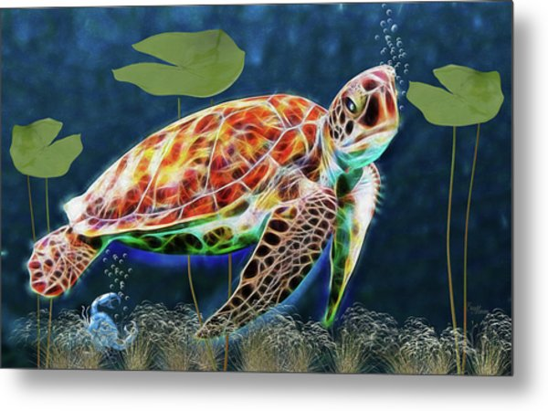 Hawksbill Sea Turtle Metal Print
