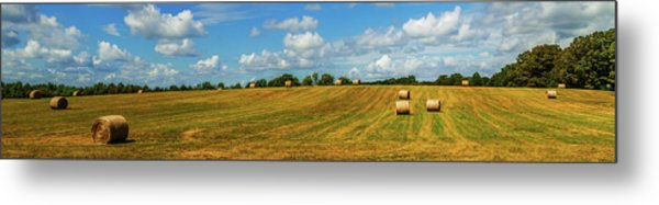 Metal Print featuring the photograph Hay Bales Panoramic by Barry Jones