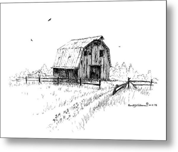 Hay Barn With Broken Gate Metal Print
