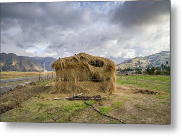 Hay Hut In Andes Metal Print