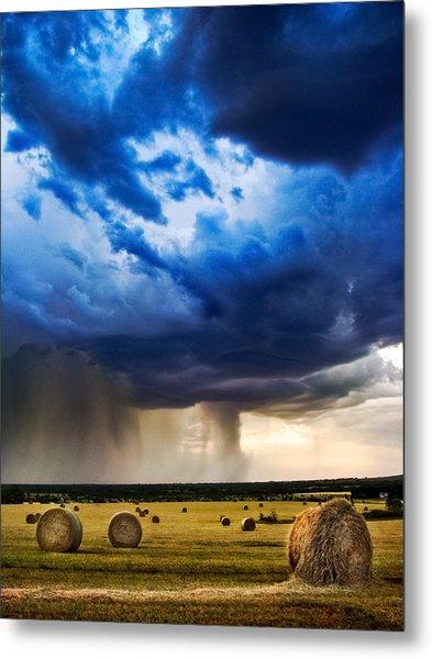 Hay In The Storm Metal Print