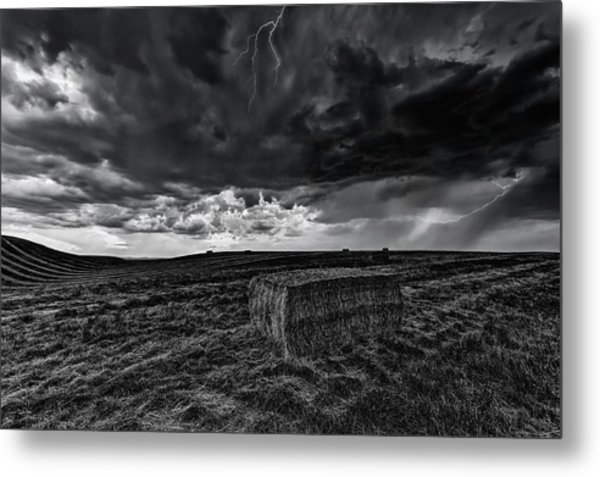 Hay Storm Black And White Metal Print