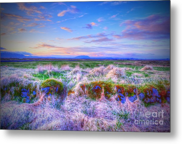 Hayfield Near Selfoss Iceland Metal Print