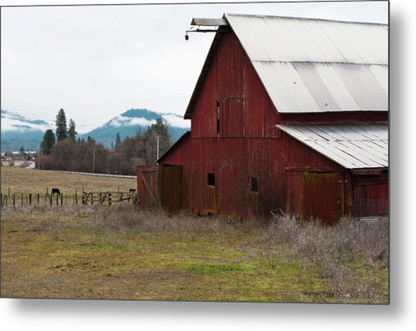 Hayfork Red Barn Metal Print
